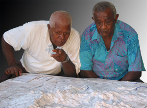 Elders identifying landmarks on a blank 3D model on Ovalau Island, Fiji (April 2005)