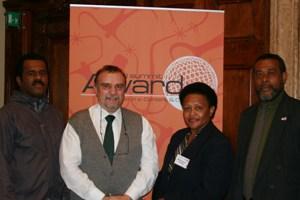 The P3DM Fiji Team, WSA 2007 winner in the e-culture category. From the left: Chief Ratu Pio Radikedike , Mr. Giacomo Rambaldi, Ms. Silika Tuivanuavou and Chief Mesake Draniatu